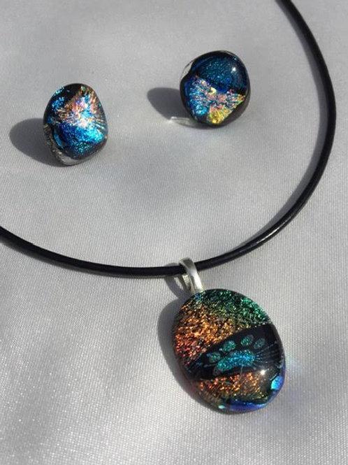 """""""Cosmic Sunburst"""" medium pendant and large stud set"""