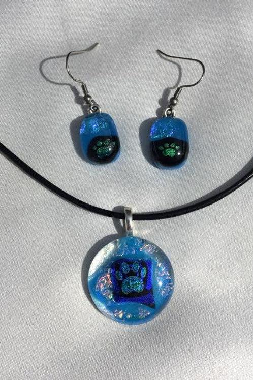 """""""Blues Clues"""" medium pendant and small dangles set"""