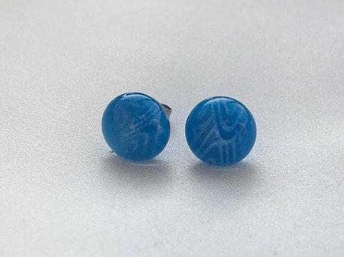 """""""Sky Blue Swirl"""" small stud earrings"""