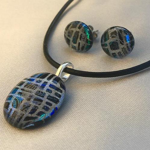 """Seeing into the Matrix"" medium pendant and medium stud set"