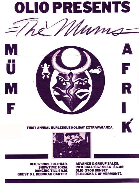 Flyer for Munfafrik at Olio