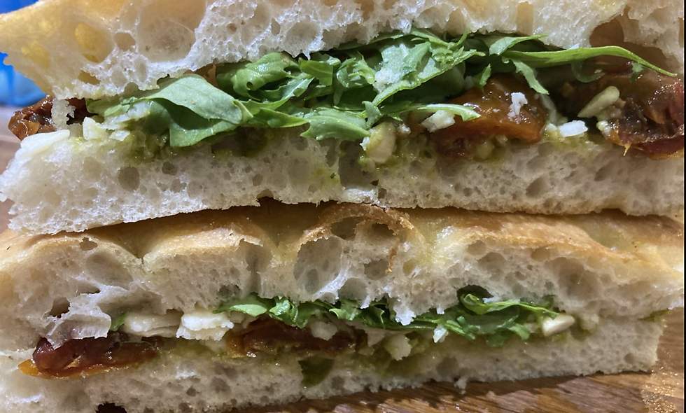 Focaccia Pesto Parmesan Rocket Sandwich