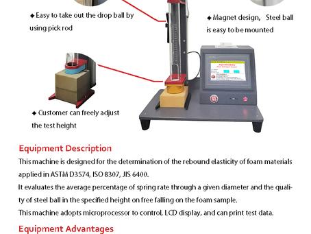 ASTMD 3574/ISO 8307 Foam Rebound Tester