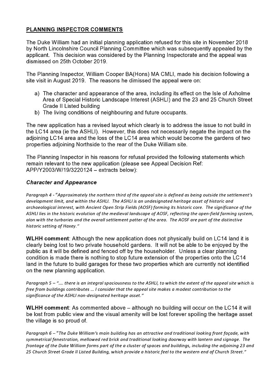 OBJECTIONS TO PLANNING APPLICATION - 202
