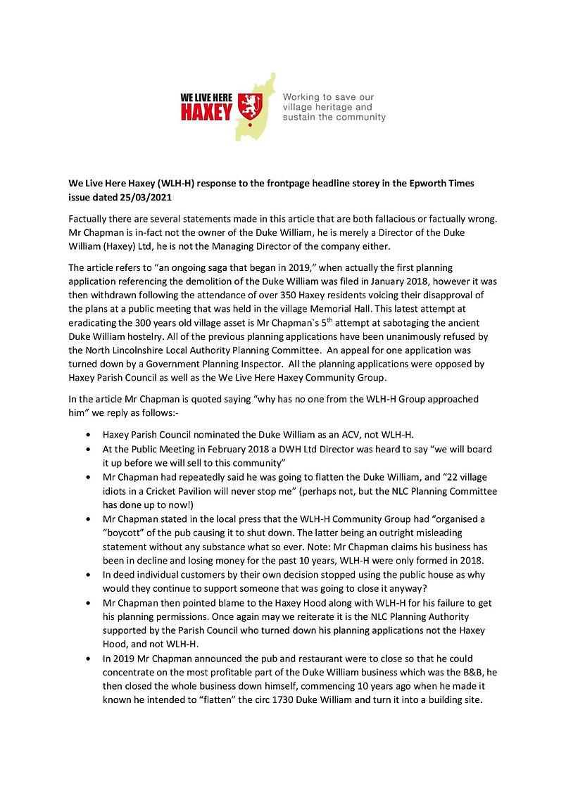 WLH-H Draft Response Epworth Times 25th