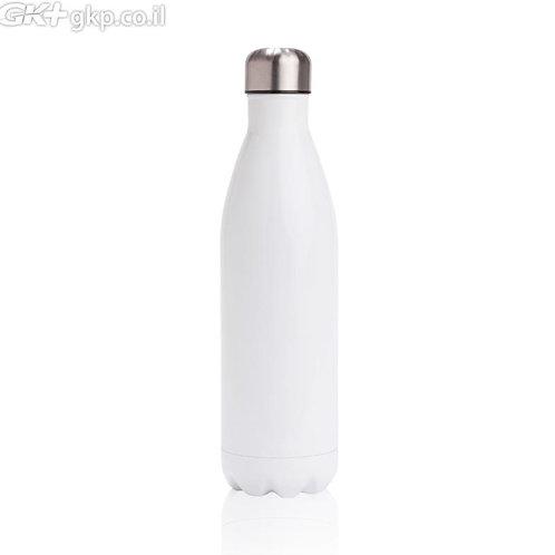 """בקבוק נירוסטה 500 מ""""ל, צבע לבן עם אפשרות למיתוג צבעוני/אישי"""