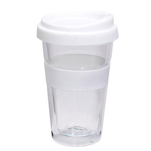 5 יח' כוס זכוכית דופן כפולה לבידוד עם מכסה סיליקון צבעוני