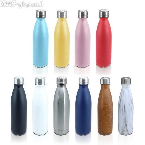 """50 יח' בקבוק נירוסטה 500 מ""""ל במגוון צבעים"""