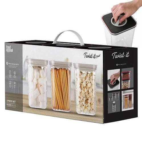 סט 3 קופסאות איחסון לאוכל יבש TWIST IT