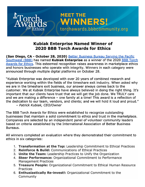 Torch Awards Winner, BBB, Kubiak Enterprise