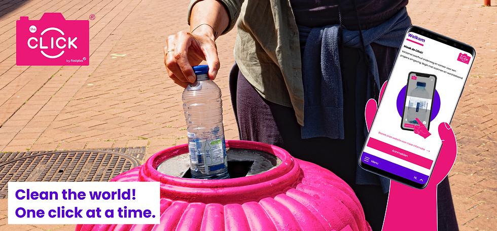 woman putting plastic bottle in bin