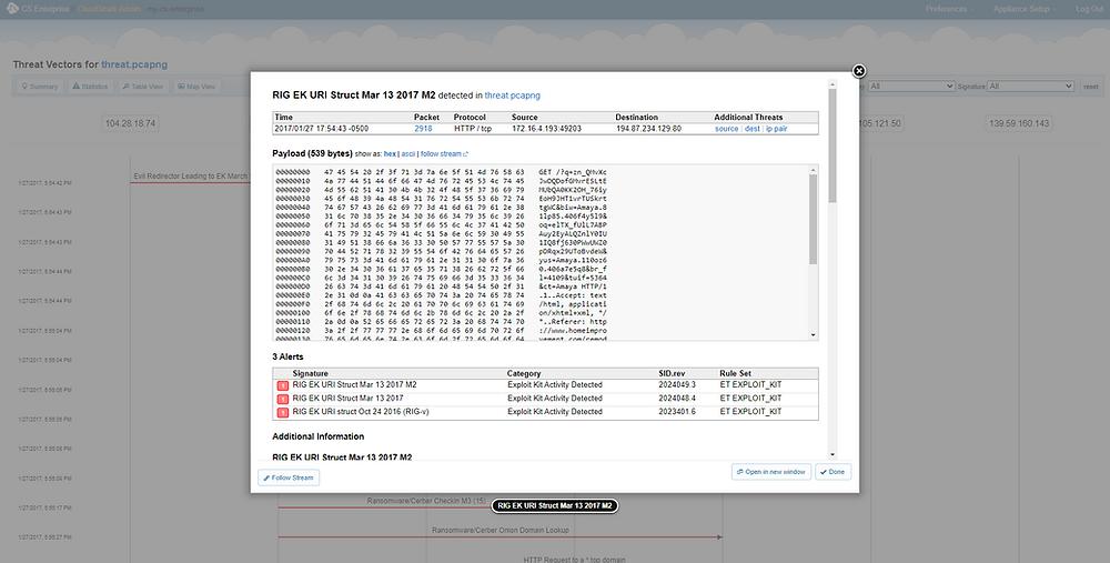 Suricata alerts in CloudShark