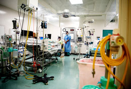 critical care unit in hospital with 2 doctors