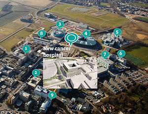 hospital campus with location markers