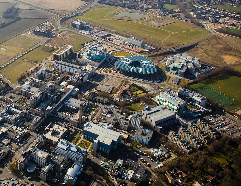 aerial shot of proposed campus site for cambridge cancer hospital