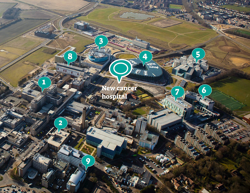 aerial shot of campus for cambridge cancer hospital with legend and location markers
