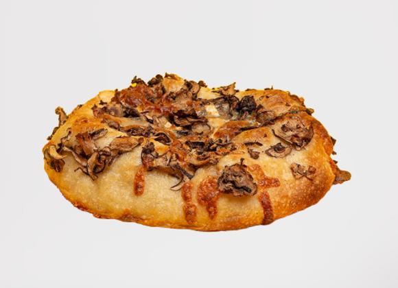 Galette champignons, fromage chèvre, Mozzarella