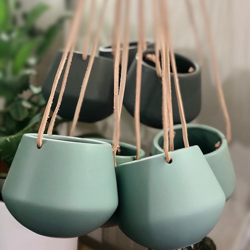 Leather Strap Hanging Pot - Teal