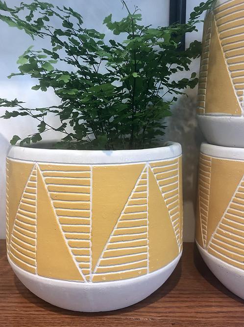 Yellow Geometric Pot