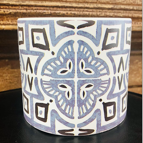 Geometric Blues Pot