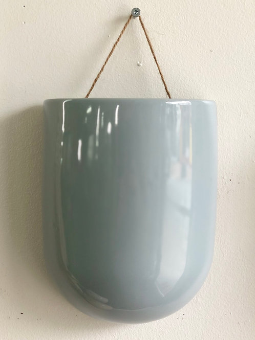 Hanging Wall Pot- Grey/Teal