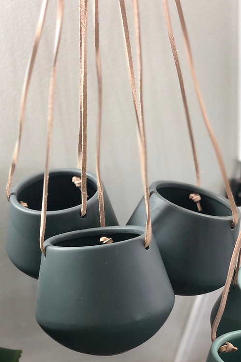 Leather Strap Hanging Pot - Grey
