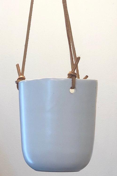 "White Hanging Pot 4 ""leather strap roping, 12"" long)"