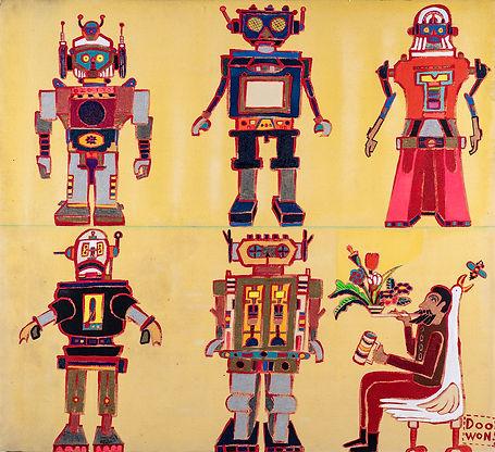 이두원, 로봇 다 만든 어느 화가의 휴식, 두꺼운 캔버스에 아크릴물감,