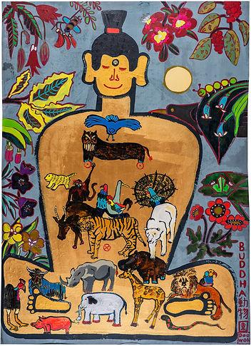이두원, 부다동물원도, 아사천에 혼합재료, 174 x 124 cm, 20