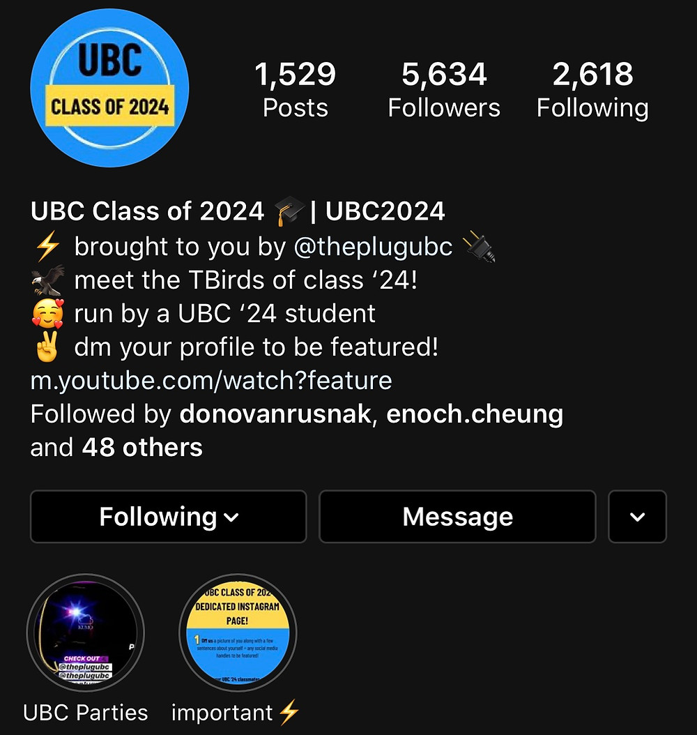 ubc 2024 instagram page image