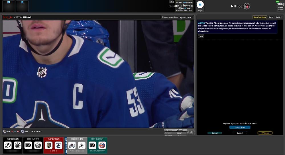 free NHL streaming image