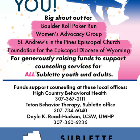 Mental Health Funds Available for ALL Sublette youth and adults