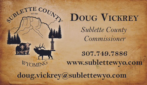 Sublette County Commissioners Business Cards