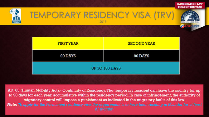 Temporary Residency Visa (TRV) Ecuador, time allowed to be out of the country. (2017)