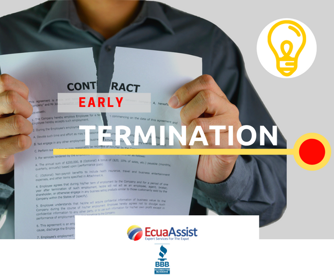 Early termination of a contract with a service provider and reimbursement of funds