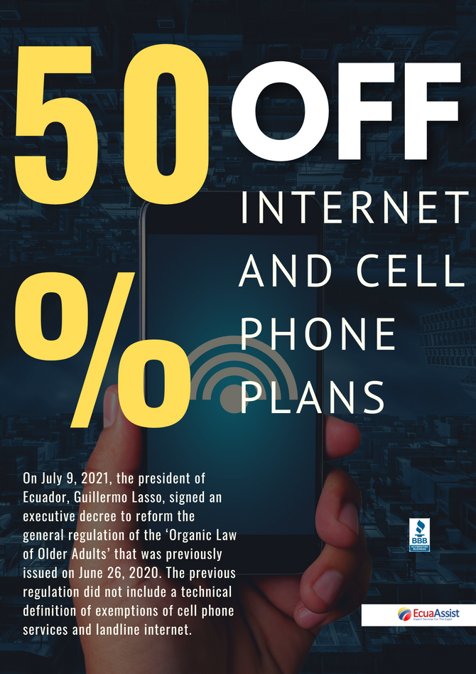 50% REDUCTION IN INTERNET AND MOBILE PHONE RATES FOR SENIORS
