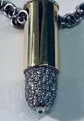 18kt Gold 9mm Bullet Chain