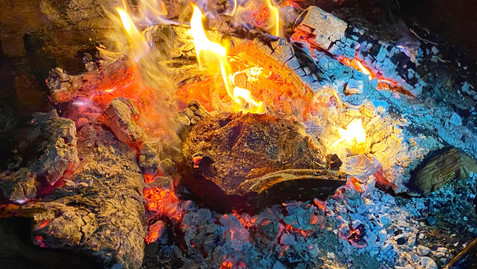 Steak right on the coals