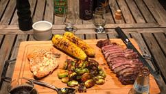 Steak, Salmon, Elotes, Ohh my!