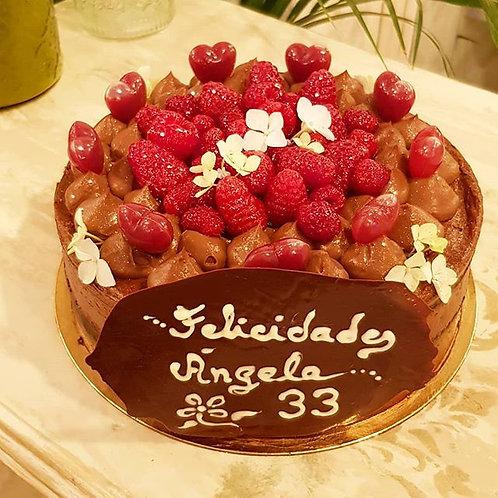 Cartel de chocolate con mensaje para tarta