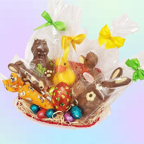 Cesta de Pascua con surtido de chocolate