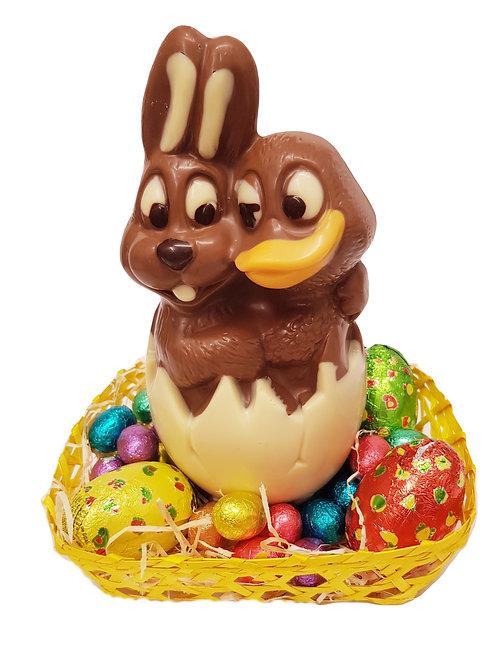 Pato y conejo en cesta