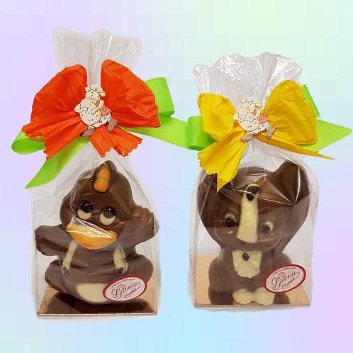 Pato y elefante de chocolate