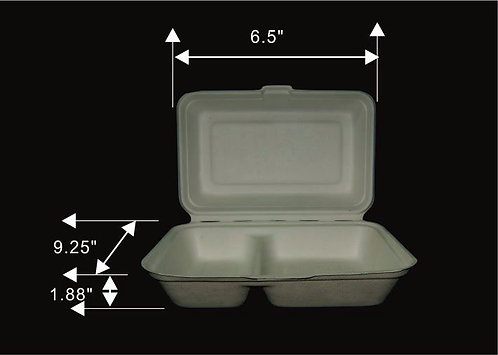 1000 ML 2-COMPARTMENT CLAMSHELL