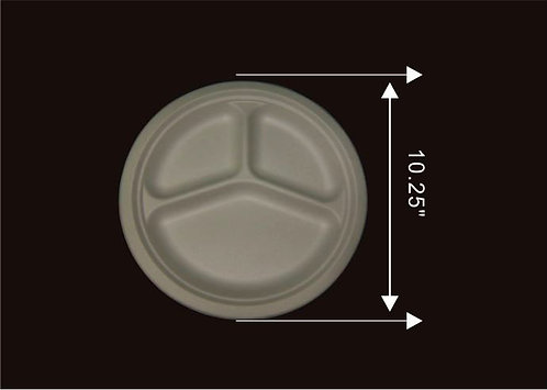 """10"""" 3-Compartment Round Plate"""