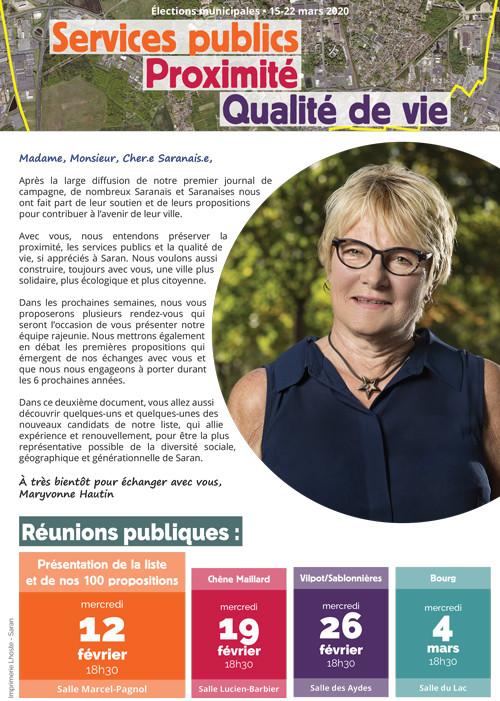 Tract n°3 - Réunions publiques et présentation de nouveaux candidats