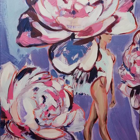 trandafiri_acrilic pe panza_40e 60 cm_au