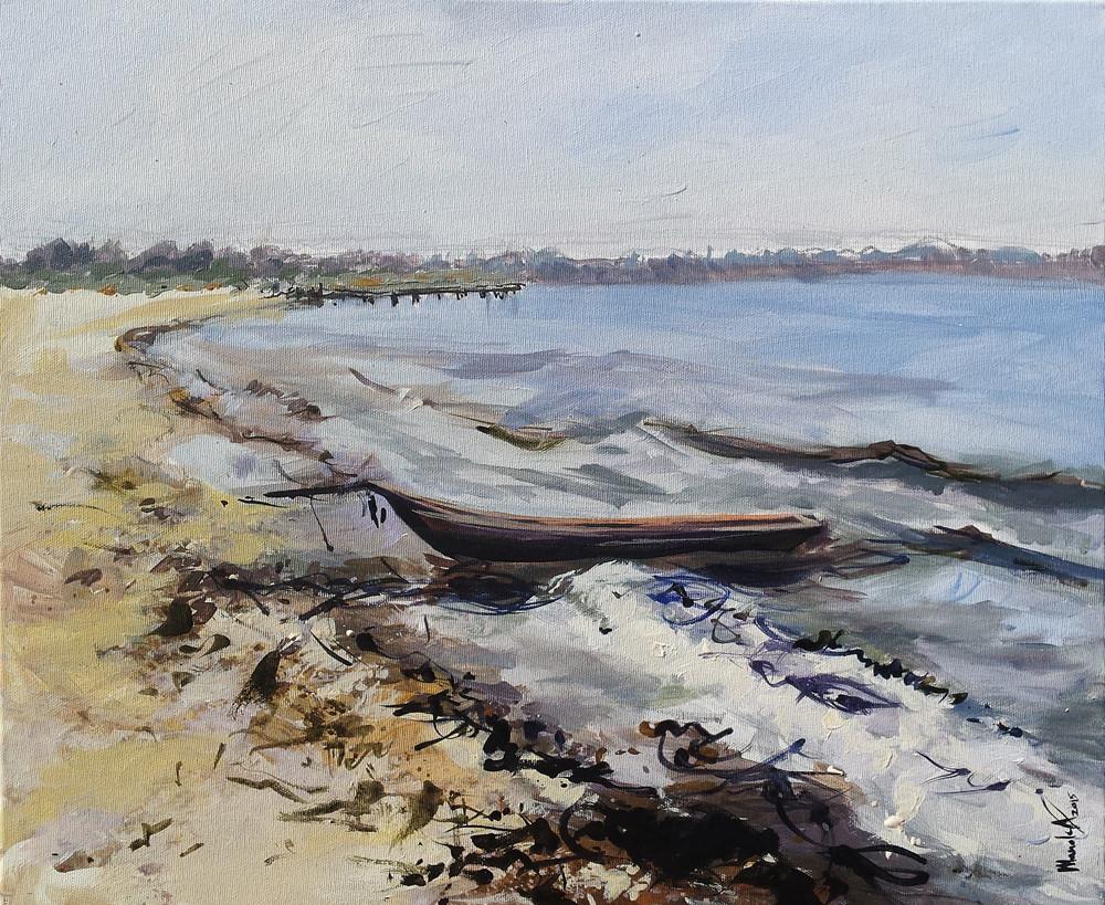 plaja la Sulina_acrilic pe panza 50 pe 60 cm autor Alina Manole_