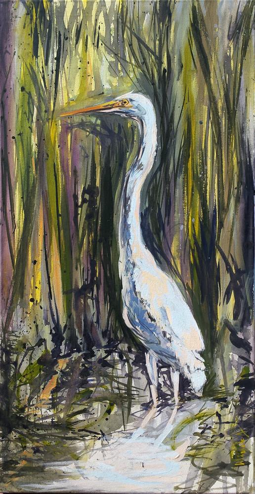 egreta mare_acrilic pe panza 90 pe 40 cm autor Alina Manole_