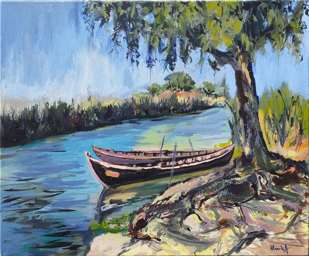 peisaj de la Crisan Delta Dunarii _acrilic pe panza 50 pe 60 cm autor Alina Manole_